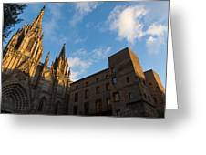 Warm Sun Glow On The Cathedral Of Barcelona Greeting Card