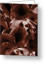 Warm Tone Monochrome Floral Art Greeting Card