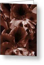 Warm Tone Monochrome Floral Art Greeting Card