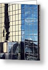 Warped Harbour Bridge Reflection By Kaye Menner Greeting Card