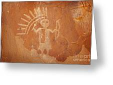 Native American Warrior Petroglyph On Orange Sandstone Greeting Card