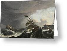 Warships In A Heavy Storm Greeting Card
