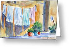 Wash Day In Marsaxlokk Greeting Card