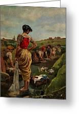 Washerwomen In Candas Asturias Amoros Botella, Antonio Greeting Card