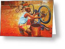 Washing My Bike Greeting Card