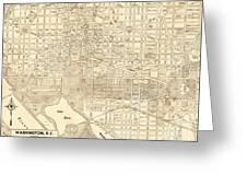 Washington Dc Antique Vintage City Map Greeting Card