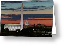 Washington Dc Landmarks At Sunrise I Greeting Card