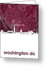 Washington Dc Skyline Map 3 Greeting Card