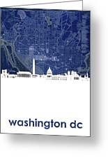 Washington Dc Skyline Map 4 Greeting Card