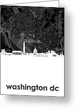 Washington Dc Skyline Map 5 Greeting Card
