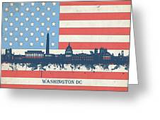 Washington Dc Skyline Usa Flag 3 Greeting Card