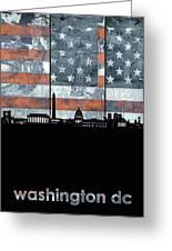 Washington Dc Skyline Usa Flag Greeting Card