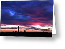 Washington Monument Dramatic Sunset Greeting Card