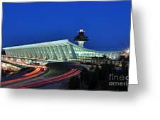 Washington Dulles International Airport At Dusk Greeting Card