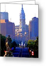 Washington Looking Over To City Hall Greeting Card