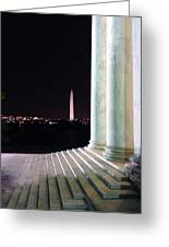 Washington Monument From Stairs Of Jefferson Greeting Card
