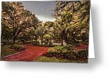 Washington Square In Mobile Alabama Painted Greeting Card