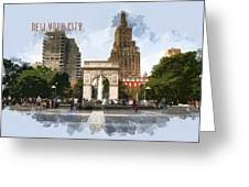 Washington Square Park Greenwich Village With Text New York City Greeting Card