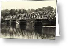 Washington's Crossing Bridge On A Rainy Day Greeting Card