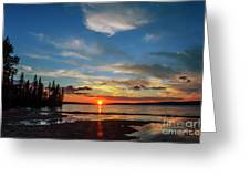 A Delightful Summer Sunset On Lake Waskesiu In Canada Greeting Card