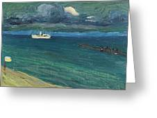 Wassily Kandinsky 1866 - 1944 Rapallo, Seascape With Steamer Greeting Card