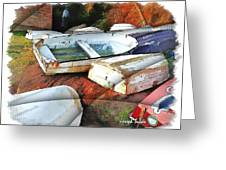 Wat-0012 Tender Boats Greeting Card