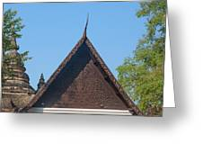 Wat Jed Yod Phra Ubosot Teakwood Gable Dthcm0968 Greeting Card
