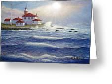 Watch Hill Lighthouseri In Breaking Sun Greeting Card