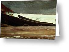 Watching A Storm On The English Coast Greeting Card by Winslow Homer