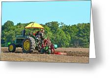 Watching Her Plow Two  Greeting Card