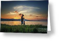 Watching Sunset With Daddy Greeting Card