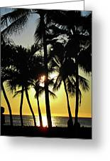 Watching The Hawaiian Sunset  Greeting Card