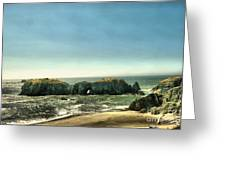 Watching The Rocks And Waves Greeting Card