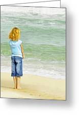 Watching The Waves Greeting Card