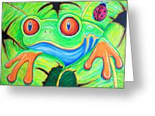 Watching You Red Eyed Tree Frog Greeting Card by Nick Gustafson
