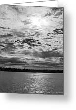 Water And Sky - Bw Greeting Card