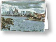Water And Skyline Greeting Card