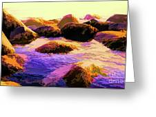Water Color Like Rocks In Ocean At Sunset Greeting Card