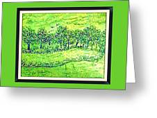 Water Color Of Apple Orchard Farm Greeting Card