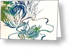 Water Color Poster Of Good And Evil Greeting Card