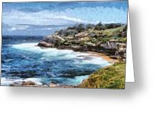 Water Cove With Rocky Cliffs Greeting Card