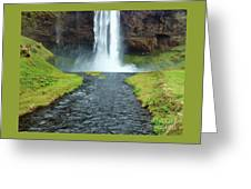 Water Falling In Iceland Greeting Card