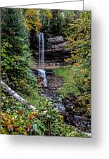 Water Falls In Autumn Greeting Card