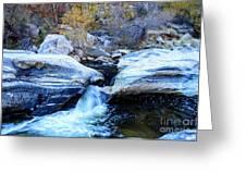 Water Flowing Through Rock Formation In Sabino Canyon II Greeting Card
