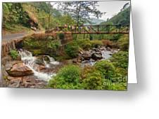 Water Flowing Through Rocks Kukhola Falls Sikkim Greeting Card