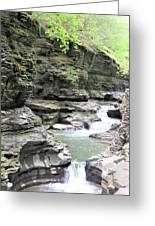 Water Flowing Through The Gorge Greeting Card