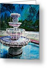 Water Fountain Acrylic Painting Art Print Greeting Card