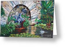 Water Fountain Greeting Card by Milagros Palmieri