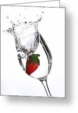 Water Glass Strawberry Greeting Card
