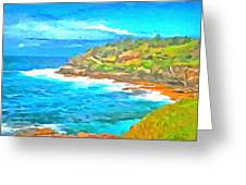 Water Gushing In On A Natural Cove Greeting Card